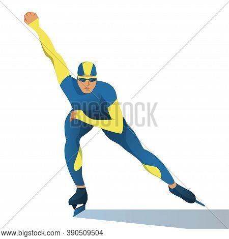 Man On Short Track Is Speed Skating. A Muscular Athlete In Sportswear Overcomes The Distance On Skat