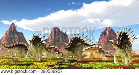 Kentrosaurus Herd 3d Illustration - A Herd Of Kentrosaurus Herbivorous Dinosaurs Feed And Rest Under