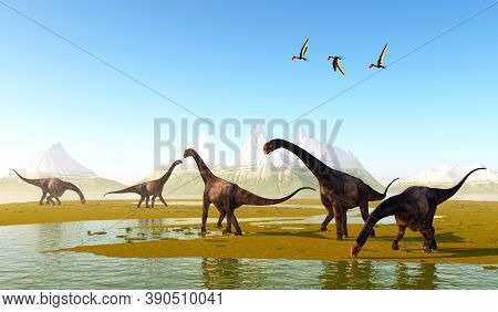 Prehistoric Meadow 3d Illustration - Dsungaripterus Pterosaurs Fly Over A Herd Of Herbivorous Bronto