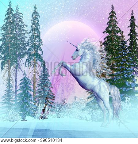 Unicorn Moon 3d Illustration - A Unicorn Is A Legendary Creature Of Mythology That Has A Spiral Horn