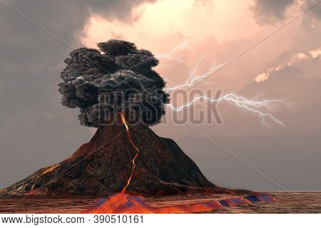 Volcano And Lightning 3d Illustration - Lightning And Thunder Crack Inside A Billowing Smoke Plume A