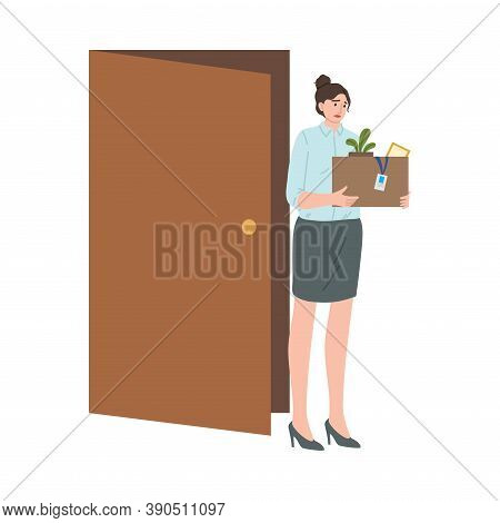 Stressed Frustrated Fired Woman Office Worker Carrying Box Of Belongings