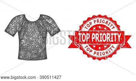 Net T-shirt Icon, And Top Priority Unclean Ribbon Stamp Seal. Red Seal Contains Top Priority Tag Ins
