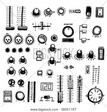 Doodled Dj Mixer Buttons