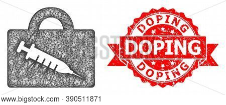 Net Vaccine Case Icon, And Doping Corroded Ribbon Stamp Seal. Red Stamp Seal Has Doping Tag Inside R