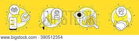 Employee Hand, Businesswoman Person And Artificial Intelligence Line Icons Set. Cell Phone, Megaphon