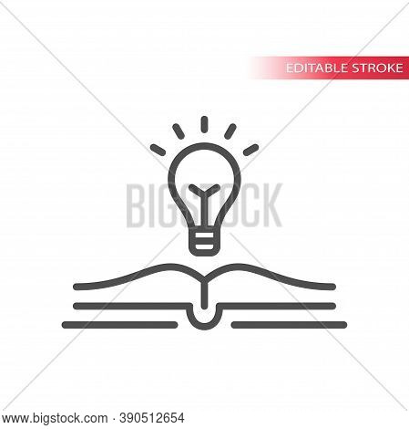 Light Bulb And Open Book Vector Icon. Lightbulb, Knowledge, Education Concept Outline Icon, Editable