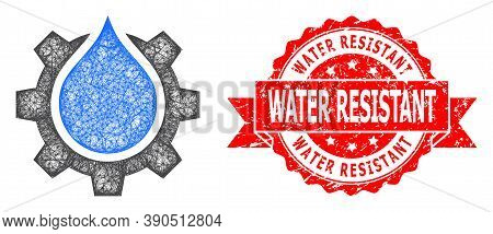 Wire Frame Water Gear Service Icon, And Water Resistant Scratched Ribbon Stamp Seal. Red Stamp Seal