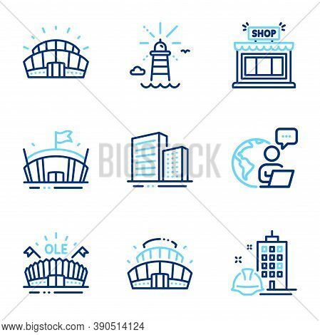Buildings Icons Set. Included Icon As Lighthouse, Arena Stadium, Arena Signs. Shop, Buildings, Sport