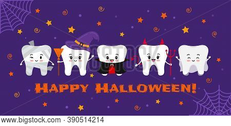 Teeth In Carnival Costume On Dental Happy Halloween Greeting Card. Cute Halloween Character - Witch