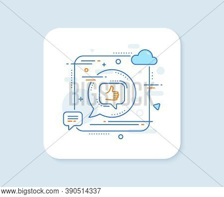 Like Line Icon. Abstract Square Vector Button. Thumbs Up Sign. Positive Feedback, Social Media Symbo