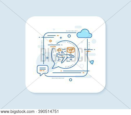Vip Flight Line Icon. Abstract Square Vector Button. Very Important Person Airplane Sign. Charter Pl