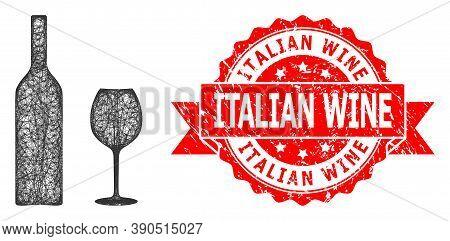 Net Wine Glassware Icon, And Italian Wine Rubber Ribbon Stamp Seal. Red Seal Has Italian Wine Title