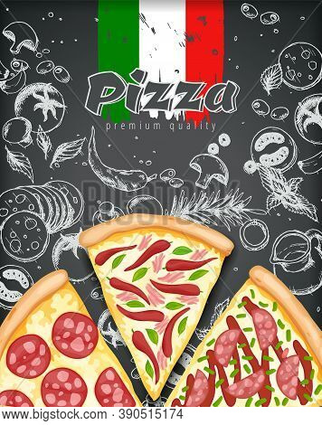 Color Pizza Poster. Savoury Pizza Ads With 3d Illustration Rich Toppings Dough On Engraved Style Cha