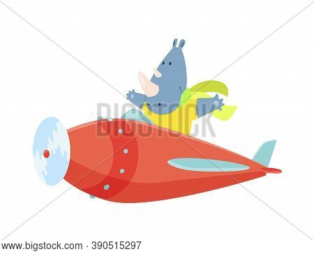 Cute Rhinoceros Flying An Airplane With Scarf Fluttering. Funny Pilot Flying On Planes. Cartoon Vect