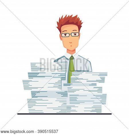 Office Documents From Copier. Office Worker With Stack Of Documents. Concept Man Of Office Work