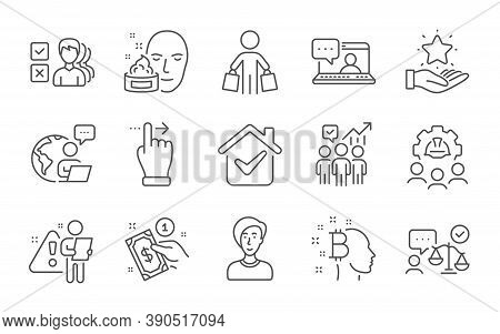 Friends Chat, Face Cream And Lawyer Line Icons Set. Business Statistics, Engineering Team And Loyalt