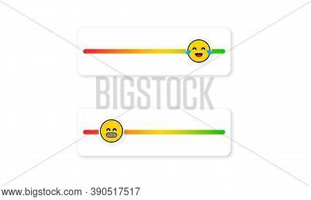 Set Of Slider Emoji For Social Media. Feedback Emoticon. Reviews Or Rating Scale With Emoji Represen