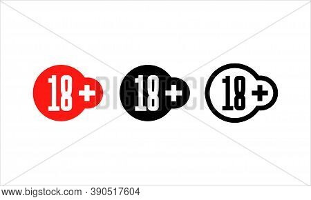 18 Plus Years Old Sign. Age Restriction Sign. Eighteen Plus Symbol. Vector Eps 10. Isolated On White