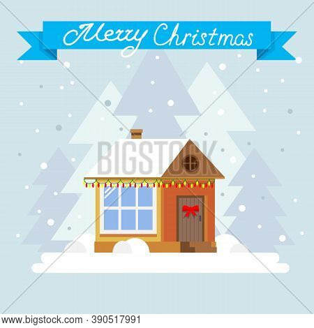 Merry Christmas And Happy New Year Greeting Card. Winter Holidays Landscape With Snow Covered Villag