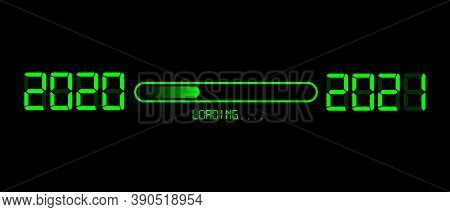 Happy New Year 2020 With Loading To Up 2021. Green Led Neon Digital Time Style. Progress Bar Almost