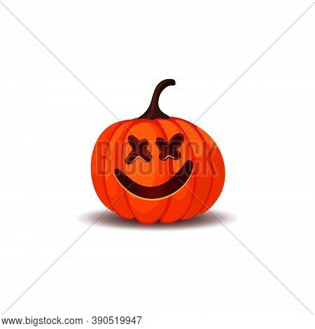Happy Halloween Jack O Lantern Pumpkin Isolated On White Background. Happy Halloween Trick Or Treat.