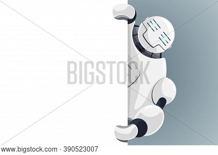 Cute Robot Look Out Corner Blank Poster Space For Text. Cyborg Character Holding Empty White Board F