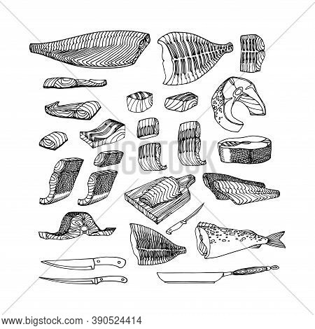 Fish Fillets Of Cod, Salmon, Flounder For Barbecue. Delicious Seafood. Restaurant Menu Decoration. V