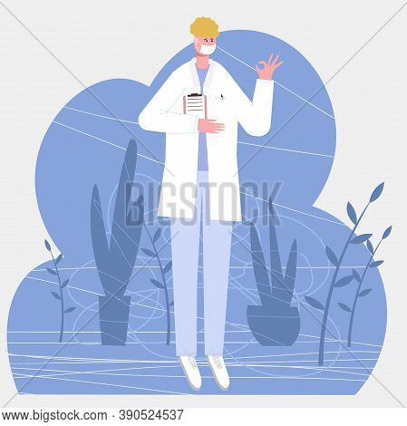 European Male Doctor Shows With A Gesture That Everything Is All Right, Isolated On White Background