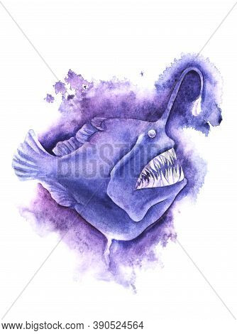 Watercolor Image Of Blue-purple Angler Fish On White Background. Hand Drawn Illustration Of Frighten