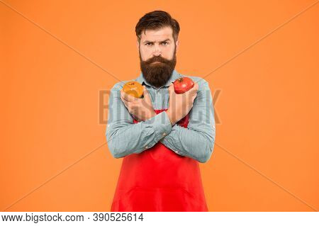 Organic Crops. Tomato Diet. Salesman With Tomatoes. Bearded Man Hold Tomato In Hands. Tomato Salsa O