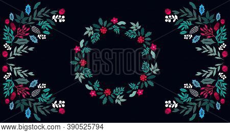Happy Merry Christmas Lettering Template  Christmas  Card With   Flowers Wreath, Frames. Festive Chr