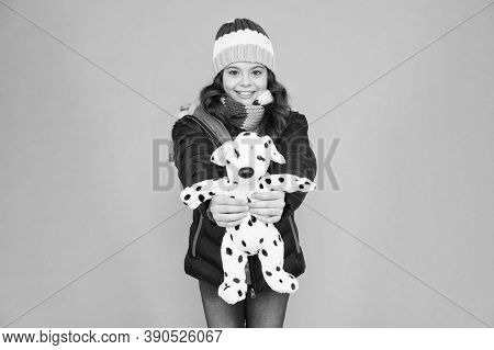 Childhood Friend. Happy Child Hold Toy Blue Background. Childhood Fun. Care Of Childhood. Childcare.