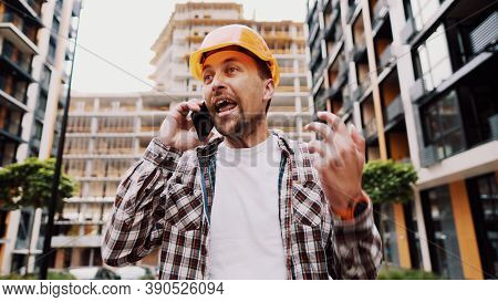 Angry Builder, Dissatisfied With Deadline Of Work, Swears At Stress While Talking To Foreman On Phon