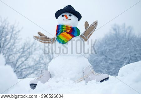 Cute Little Snowman Outdoor. Winter Time Scene. Christmas Background With Snowman. The Morning Befor