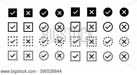 Check Mark, Cross Icon. Vector Isolated Elements, Icons, Signs. Tick Check Mark Black Icons. Stock V