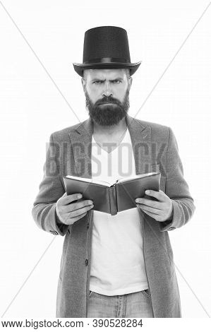 Dramatic Look. Reading Dramatic Scenario. Bearded Man Read Book Isolated On White. Poetry Reading. I