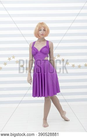 Fashion Dummy In Style Of Crazy Girl. Beauty And Fashion Concept. Crazy Girl Stand As Trendy Dummy O