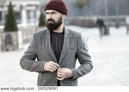 Stylish Casual Outfit For Fall And Winter Season. Menswear And Male Fashion Concept. Man Bearded Hip