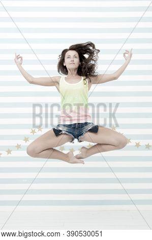 Yoga Girl In Harmony. Girl Jump In Yoga Meditation. Harmony And Peace. I Like Meditation. Body And M