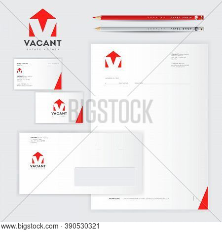 Vacant Logo And Identity, Branding Of Business Papers. V Letter, Monogram Like House Silhouette. Log