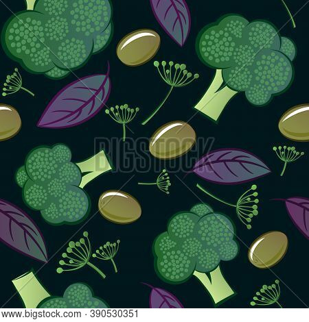 Vegetables Mix Seamless Pattern. Green Broccoli With Basil Leaves And Dill Spicy Herbs. Original Sim