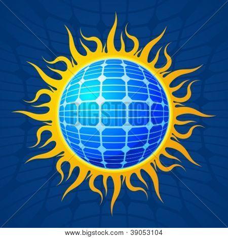Sun with solar panel surface.