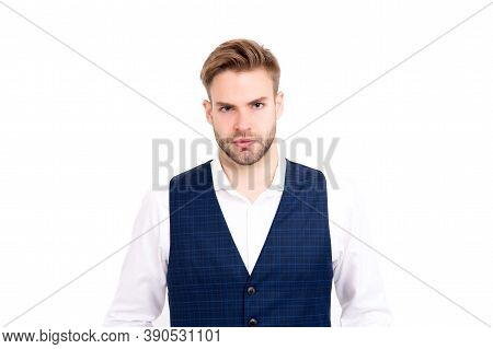 Theres No Doubting He Looks Good. Handsome Man Isolated On White. Fashion Look Of Business Man. Form