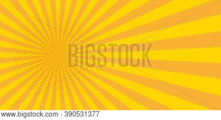 Vintage Pop Art Banner With Yellow Pop Art On Halftone Light Background For Wallpaper Design. Banner