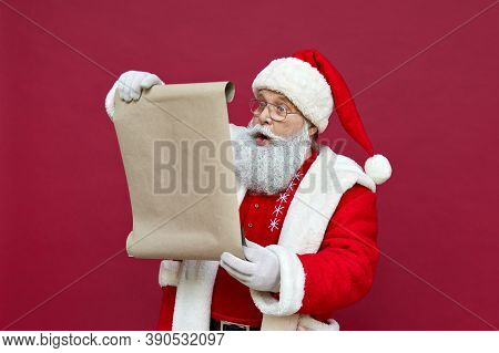 Shocked Surprised Old Funny Santa Claus Wearing Costume Holding Parchment Roll Reading Letter Wish L