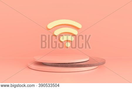 Wi-fi Icon 3d Rendering. Golden Wi-fi Symbol On Pink Background. 3d Rss Symbol For Website, Social M
