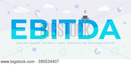 Ebitda (earnings Before Interest, Tax, Depreciation And Amortization) Concept. Simple Vector Horizon