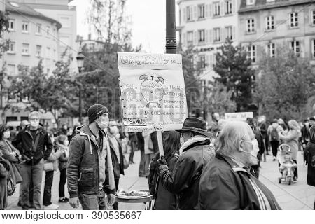 Strasbourg, France - Oct19, 2020: Man With Placard In Place Kleber To Pay Tribute To History Teacher