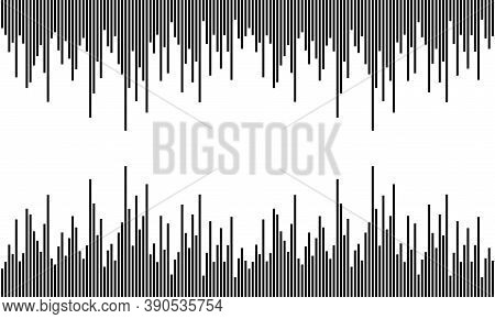 Earthquake Wave On White Background, Audio Wave Diagram Concept. Black Vertical Lines. Black Soundwa
